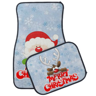 Merry Christmas Santa And Reindeer Car Mat