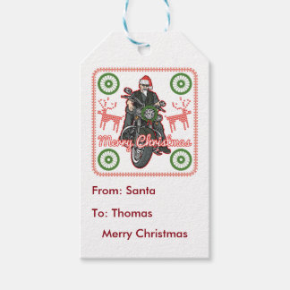 Merry Christmas Santa Biker Motorcycle Holiday Pack Of Gift Tags