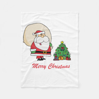 Merry Christmas Santa Claus and a Christmas Tree Fleece Blanket