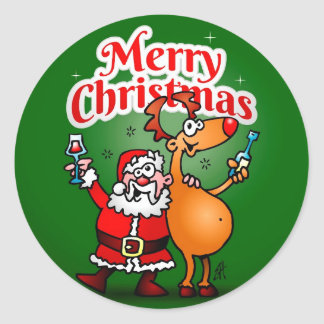 Merry Christmas - Santa Claus and his Reindeer Round Sticker