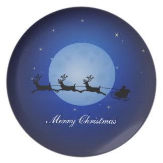 Merry Christmas Santa Claus at Night Plate
