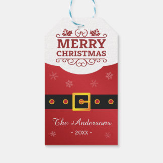 Merry Christmas Santa Claus Belt Happy Holiday Pack Of Gift Tags