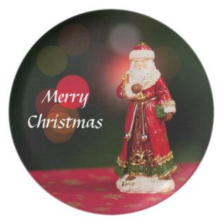 Merry Christmas Santa Claus Figurine Plate