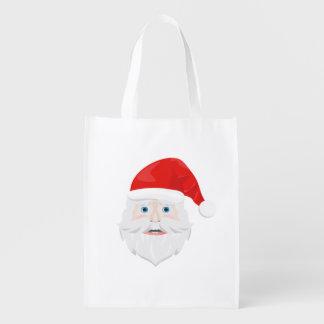 Merry Christmas Santa Claus Reusable Grocery Bag
