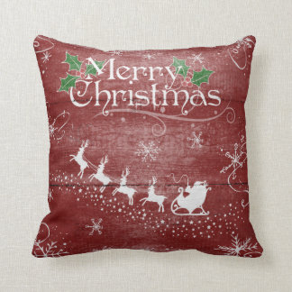 Merry Christmas Santa Claus Sleigh Snow Pillow