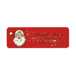 Merry Christmas,Santa Claus,Sparkle Return Address Label