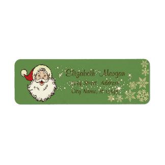 Merry Christmas,Santa Claus,Sparkle,Snowflakes Return Address Label