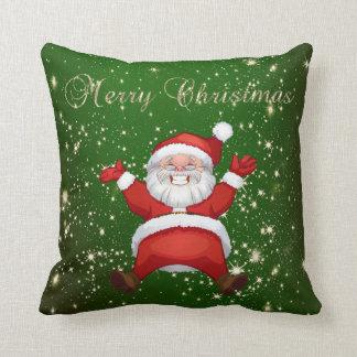 Merry Christmas,Santa Claus,Sparkles,Green Throw Pillow