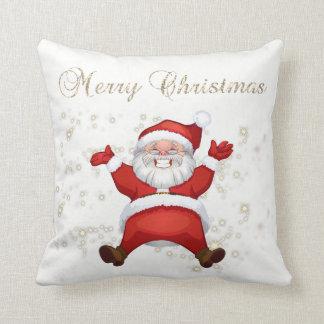 Merry Christmas,Santa Claus,Sparkles,White Throw Pillow