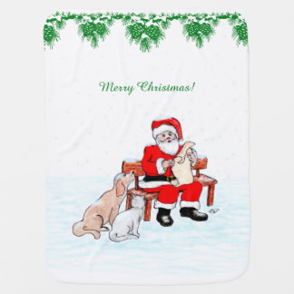 Merry Christmas - Santa Claus with Cat and Dog Baby Blanket