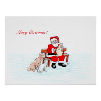 Merry Christmas - Santa Claus with Cat and Dog Poster