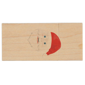 Merry Christmas Santa Claus Wood USB 2.0 Flash Drive