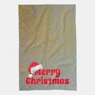 Merry Christmas Santa Faux Silver Gold Metallic Kitchen Towel