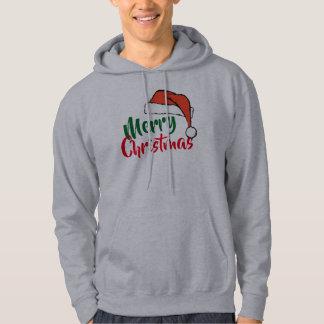 merry christmas santa hat mens hoodie