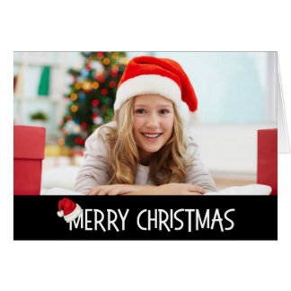 Merry Christmas Santa Hat on Black Custom Photo Card