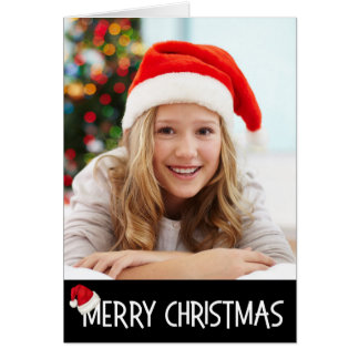 Merry Christmas Santa Hat on Black Photo Custom Card