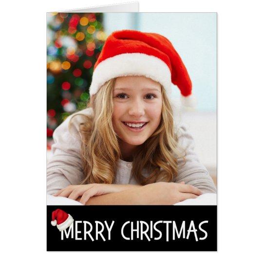 Merry Christmas Santa Hat on Black Photo Custom Card