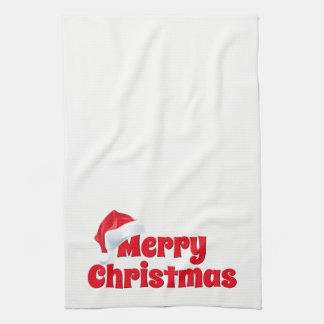 Merry Christmas Santa Hat Red White Kitchen Towel