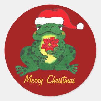 Merry Christmas - Santa Hoppy Frog Sitcker Round Sticker