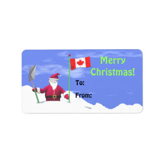 Merry Christmas Santa in Canada Gift Tag