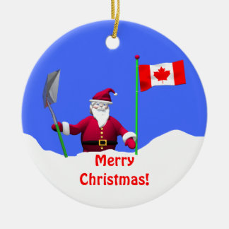 Merry Christmas Santa in Canada Christmas Tree Ornament