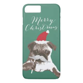 Merry Christmas Santa Mustache Pug iPhone 7 Plus Case