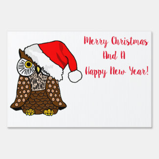 Merry Christmas Santa Owl Yard Sign