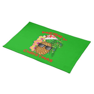 Merry Christmas Santa Pineapple Placemat