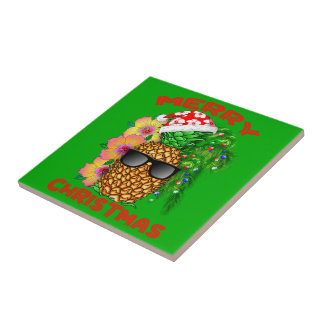Merry Christmas Santa Pineapple Tile