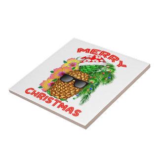 Merry Christmas Santa Pineapple Tile