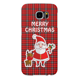 Merry Christmas Santa Red Plaid Galaxy 6 Case