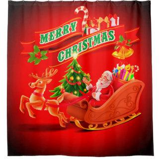 Merry Christmas Santa Sleigh and Reindeer