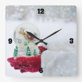 Merry Christmas & Santa Snow Globe Square Wall Clock