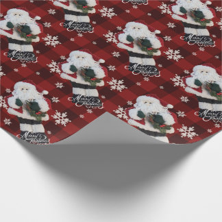 Merry Christmas Santa Snowflakes Red Buffalo Plaid Wrapping Paper