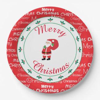 Merry Christmas Santa Waving Paper Plate