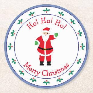 Merry Christmas Santa Waving Round Paper Coaster