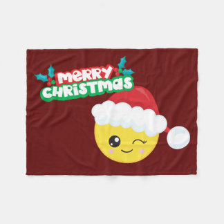 Merry Christmas Santa Wink  Emoji Fleece Blanket