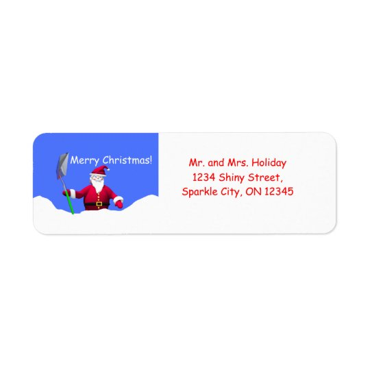 Merry Christmas Santa with Shovel Return Address Label