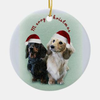 Merry Christmas Sausages Ceramic Ornament
