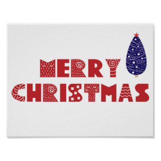 Merry Christmas scandinavian design poster