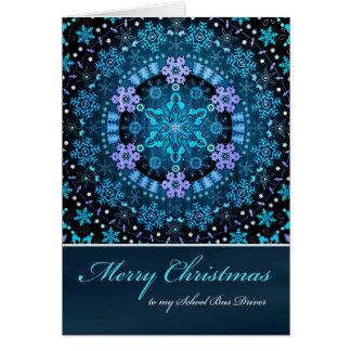 Merry Christmas School Bus Driver Boho Snowflakes Greeting Card