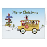 Merry Christmas School Bus Greeting Cards