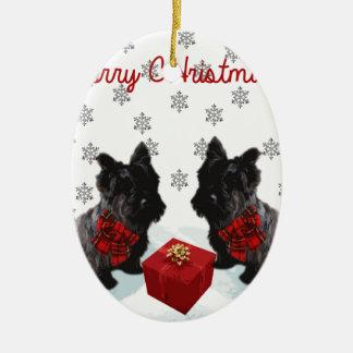 Merry Christmas Scottie Dogs Ceramic Ornament