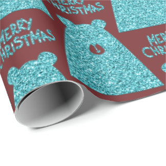 Merry Christmas Script Bear Turquoise Burgundy Wrapping Paper
