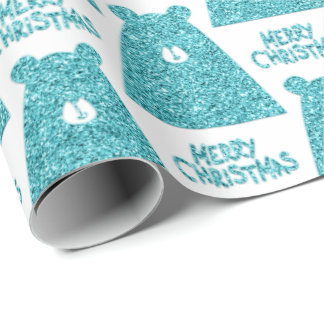 Merry Christmas Script Bear White Turquoise  Fancy Wrapping Paper