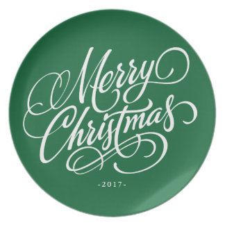 Merry Christmas Script - Choose Background Color Party Plate