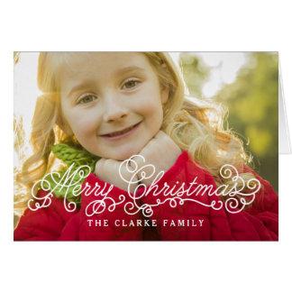 Merry Christmas Script Overlay Holiday Photo Card