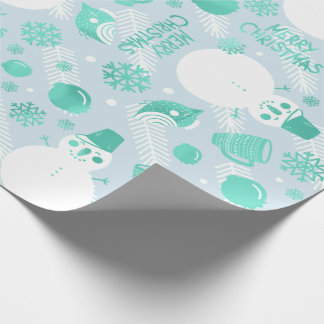 Merry Christmas Script  Snowman White Mint Blue Wrapping Paper