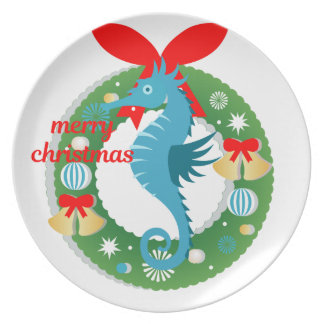 merry christmas seahorse plate