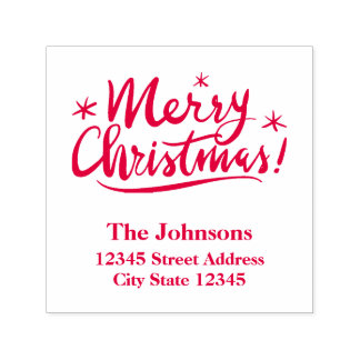 Merry Christmas self inking stamp with red ink